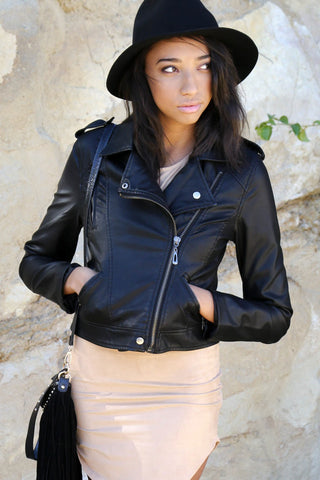 Effortlessy Edgy Leather Moto Jacket - Faux Leather Black Second