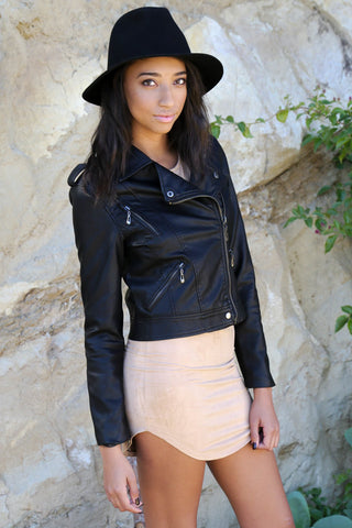 Effortlessy Edgy Leather Moto Jacket - Faux Leather Black