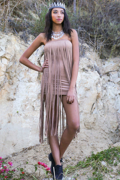 All Fringed Out Faux Suede Dress - Brown