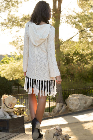 Fringe Knit Cardigan Hoodie Second
