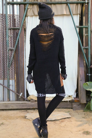 Slash and Knit Distressed Sweater - Black