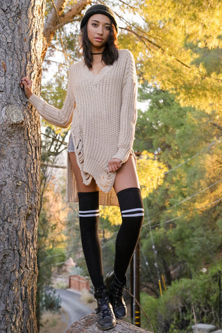 Slash and Knit Distressed Sweater - Ivory