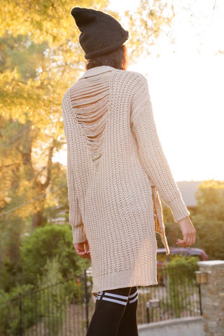 Slash and Knit Distressed Sweater - Ivory Second