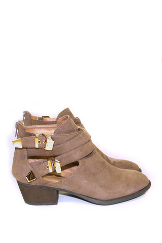 Taupe Suede Ankle Double Buckled Cutout Boots