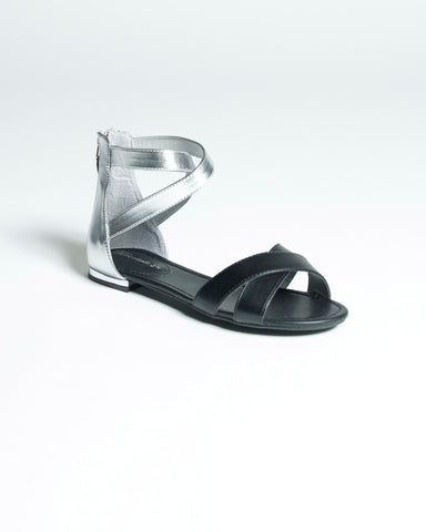 Contrast Sandals - Black & Silver Second