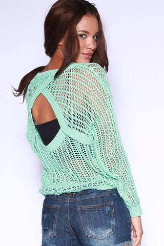 Open Back Sweater - Mint