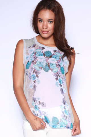 Sheer Chiffon Sleeveless Top with Floral Mirror