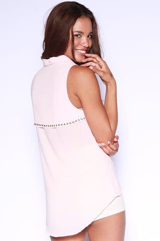 Chiffon Sleeveless Button Down Top with Studs on the Back - Pink