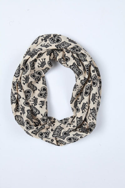 Crown Print Scarf - Off White