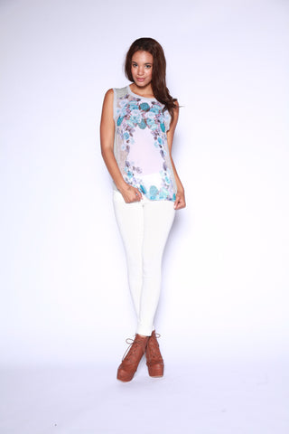 Sheer Chiffon Sleeveless Top with Floral Mirror Second