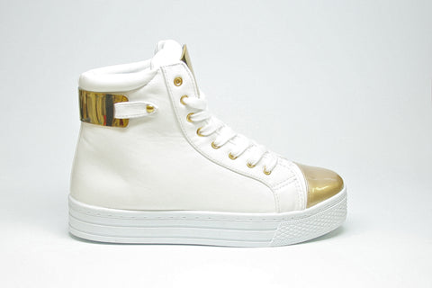 White Sneakers with Gold Metal Accent