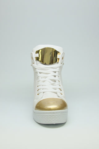 White Sneakers with Gold Metal Accent Second