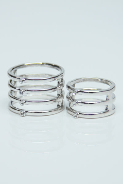 Silver Double Ring with Rhinestones (Regular & Knuckle)