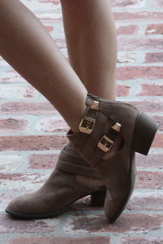 Taupe Suede Ankle Double Buckled Cutout Boots Second
