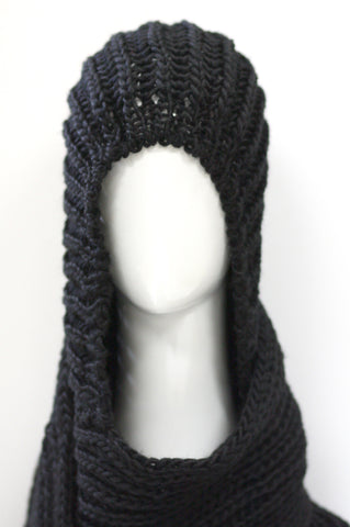 Knit Hooded Scarf - Black