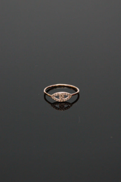 Rhinestone Pave Eye Ring - Rose Gold