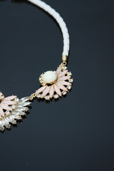 White Leather Braided Floral Jewel Statement Necklace