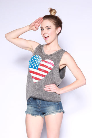 American Flag Heart Graphic Tank