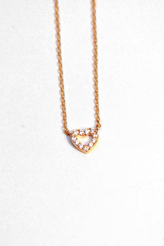Rhinestone Heart Necklace - Rose Gold