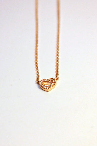 Rhinestone Heart Necklace - Rose Gold Second