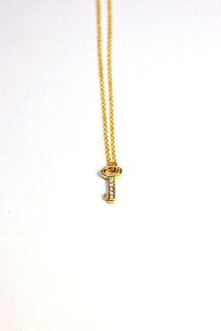 Rhinestone Key Necklace - Gold