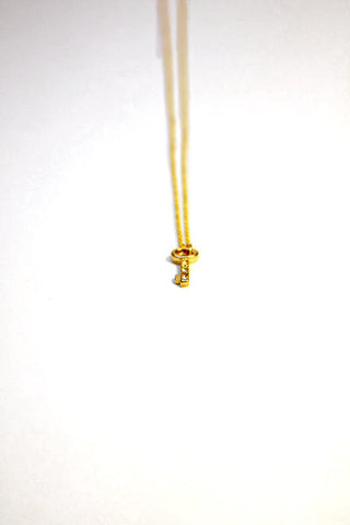 Rhinestone Key Necklace - Gold Second