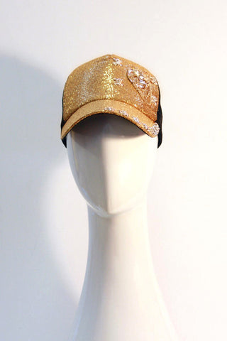 Gold Sequin Trucker Hat