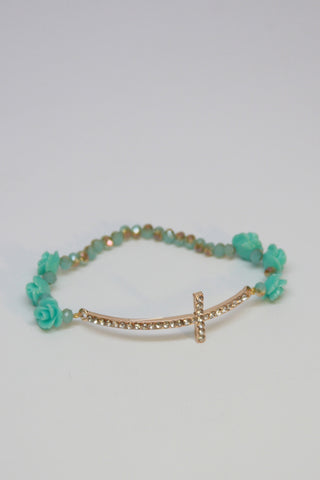 Mint Rose and Gold Cross Bracelet