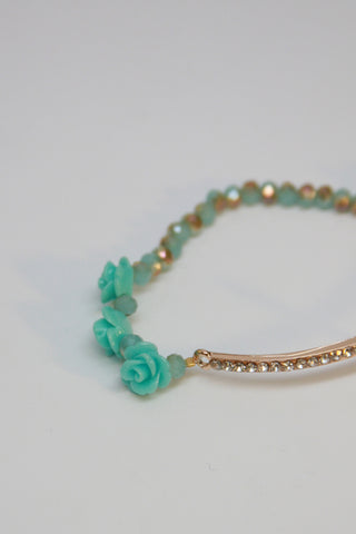 Mint Rose and Gold Cross Bracelet Second