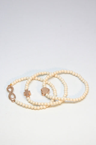 Ivory Beaded Bracelet Trio Set Second
