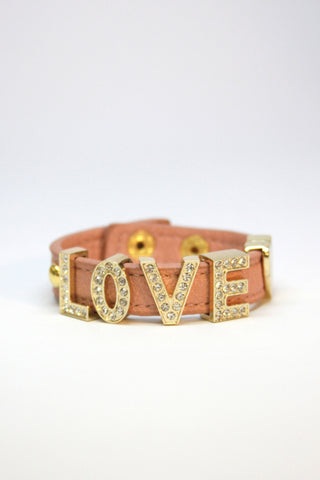 LOVE leather snap bracelet