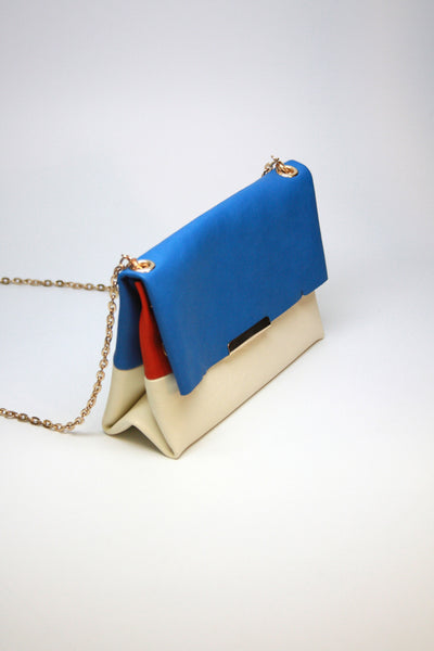 Fold-over Americana Leather Clutch
