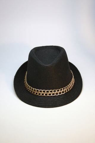 Black Fedora with Gold Chain