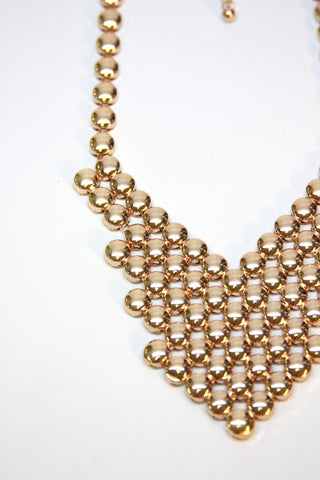 Gold Beads Statement Necklace