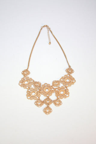 Gold Lace Flower Bib Necklace