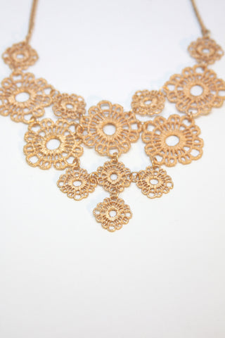 Gold Lace Flower Bib Necklace Second