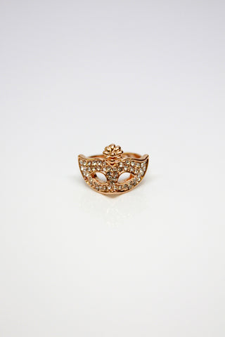 Opera Mask Rhinestone Ring - Gold Second