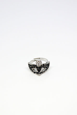 Opera Mask Rhinestone Ring - Silver Second