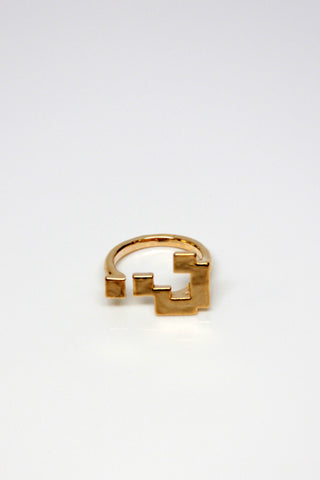 Question Mark Pixel Ring - Gold