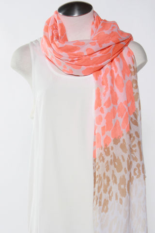 Spotted Animal Print Scarf-Orange Second