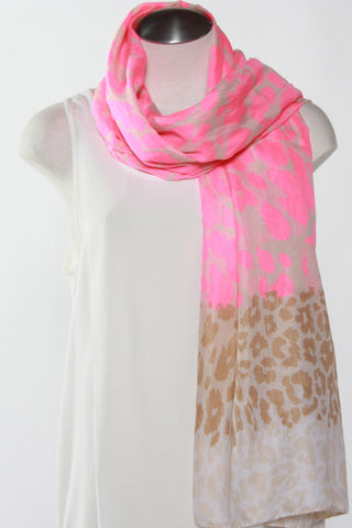 Spotted Animal Print Scarf-Pink Second