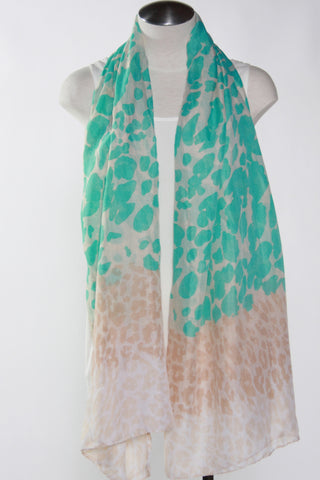 Spotted Animal Scarf-Teal Second