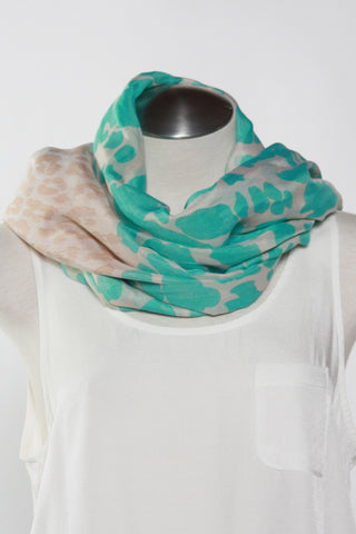 Spotted Animal Scarf-Teal