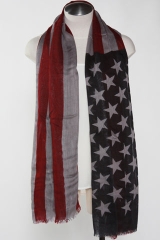 American Flag Scarf-Gray Second