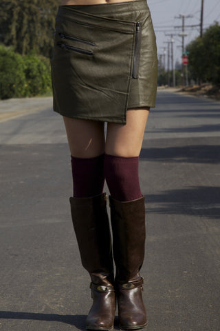 Origami Olive Faux Leather Mini Skirt