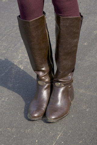 Leather Riding Boots - Brown