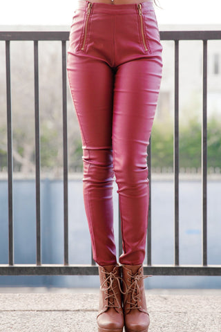 Highwaisted Faux Leather Zipper Pants - Burgundy