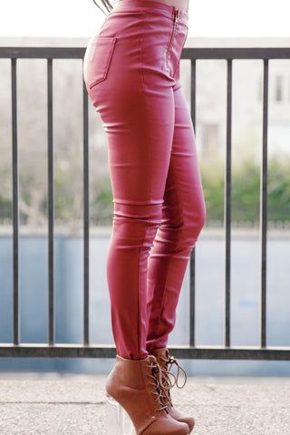 Highwaisted Faux Leather Zipper Pants - Burgundy Second