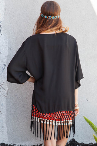 Tribal Embroidered Fringe Kimono Second