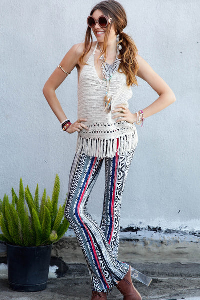 Wandering Gypsy Tribal Print Flare Pants